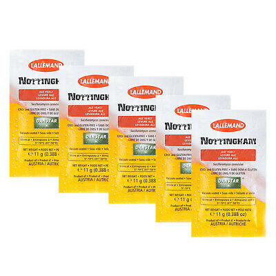5x Lallemand  Nottingham Ale Beer Yeast 11g Home Brew Sachets  FP