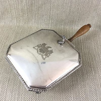 Vintage Silver Plated Silent butler Crumb Tray Handled Dish Box Armorial