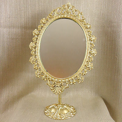 Vintage Vanity Mirror Oval French Gold Ornate on stand Swivel Dressing Table