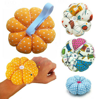 BU_ Sewing Needle Pin Cushion Pumpkin Shaped Holder Wrist Strap Craft Tool Rakis