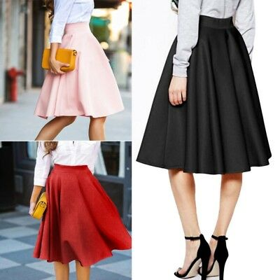 AU Vintage Women High Waist Skater Flared Pleated Swing Long Stretch Skirt Dress
