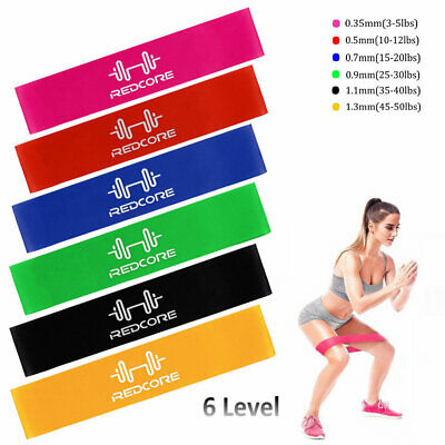 Set of 6 Resistance Bands Loop Yoga CrossFit Fitness Legs Exercise Workout Band