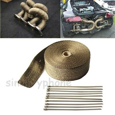 10m Titanium Exhaust Heat Wrap Roll for Motorcycle Fiberglass Heat Shield Tape