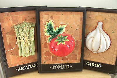 Mosaic Tile Framed Pictures Vegetables Wall Decor Restaurant Kitchen Italian 3-D