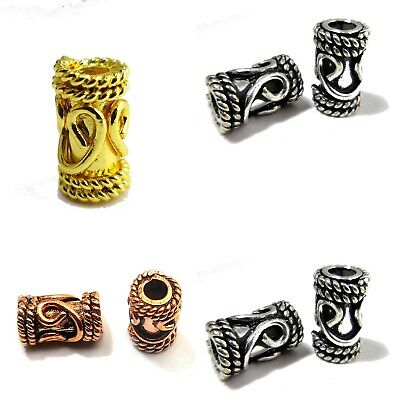 16 Pcs 11X6Mm Sterling Silver 18K Gold Plated Solid Copper Bali Tube Bead 316