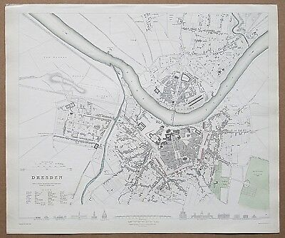 Sduk Dresden Map Town Plan 1832 Published 1844 Genuine Antique Fine Condition