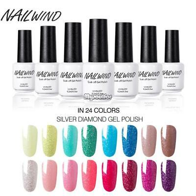 Gel Nail Polish UV/LED Soak Off Shinny Glitter Coat 9.2ml in 24 Colors MSF