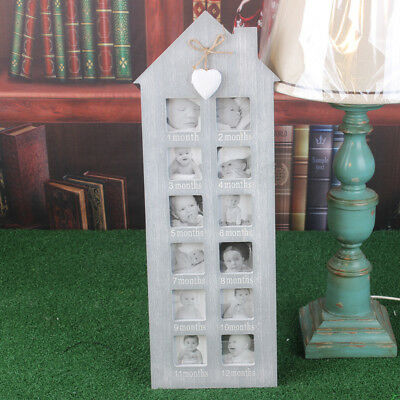 Baby My First Year Picture Photo Display Frame Wall Wood 12 Month Birthday Gift