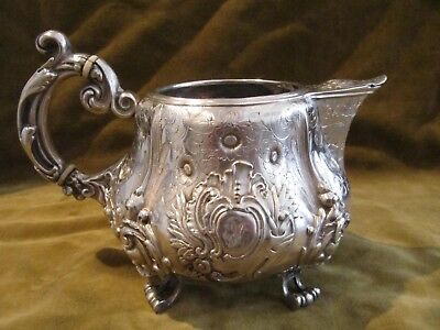 Gorgeous 1850 french sterling silver large creamer rococo flowers 410g 14,4oz