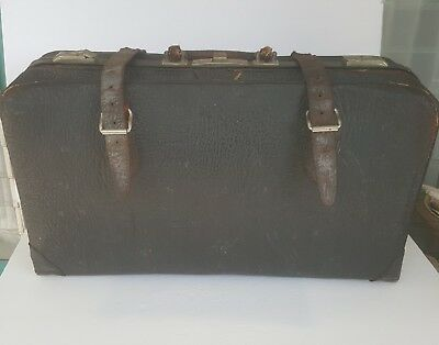 LEATHER SUITCASE LUGGAGE TRAVEL BAG DR. STYLE LARGE Antique