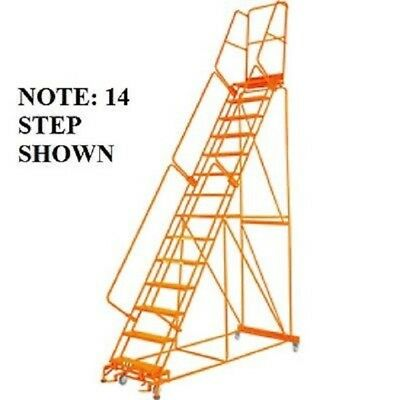 """NEW! Perforated 24""""W 13 Step Steel Rolling Ladder 21""""D Top Step W/Handrail!"""