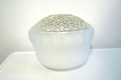 Vintage faceted paneled quilted diamonds clear, milk glass ceiling globe shade.
