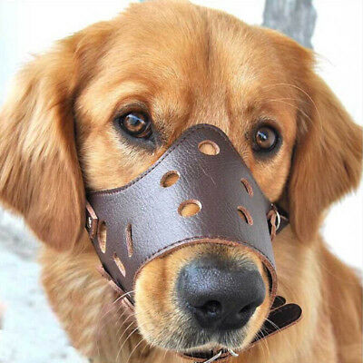 Anti Bite Muzzle Mask Bark Pet Dog Mouth Grooming Chew Stop Adjustable Soft Size