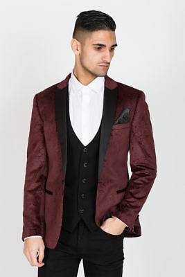 Mens Marc Darcy Velvet Blazer Smoking Dinner Jacket Slim Fit Luxury Smart