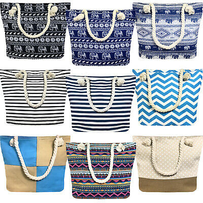 Ladies Womens Large Print Pattern Shoulder Canvas Tote Holiday Beach Bag