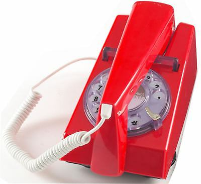 New Steepletone Retro Style Rotary Dial Trim Phone Corded Telephone in Red