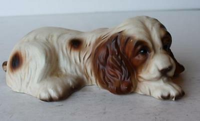 Cocker Spaniel Dog Figurine Lying Down Porcelain Made in Japan Hand Painted-CUTE