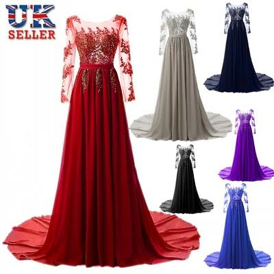 Womens Lace Beading Appliques Dresses Wedding Evening Party Trumpet Dress Skirt
