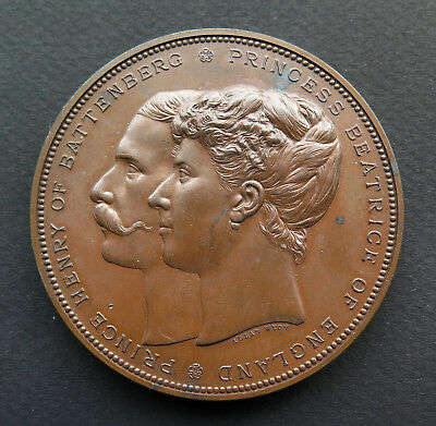 1885 MARRIAGE OF PRINCESS BEATRICE + PRINCE HENRY OF BATTENBERG MEDAL by A WYON