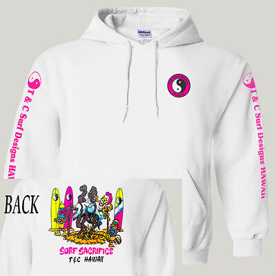 """T&C,Town and Country,Hawaii Retro """"Surf Sacrifice"""", Hoodie/Pullover ,T-1028White"""