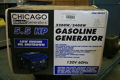 Chicago Electric 5.5 HP 2200 Watts Portable Generator w/Electric Start (98452)