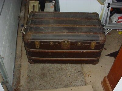 Robert McQuinn Antique Vintage Steamer Tou-R-ist Trunk with three levels 1900's