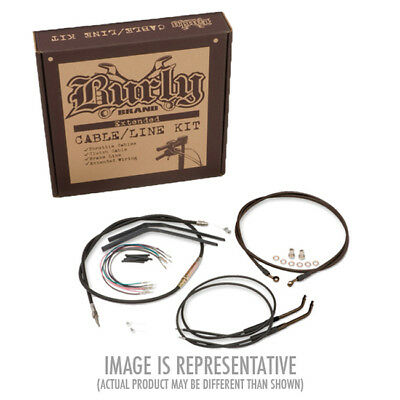 """Extended Black Control Cable Kit 14"""" tall bars Burly Brand B30-1034 HD Dyna"""