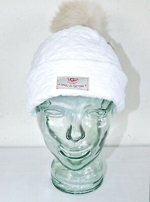 2c3ad928346 New Womens Ugg White Quilted Pom Hat Beanie Water Resistant O s One Size   105