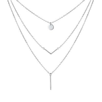 S925 Sterling Silver Triple Layer Pendant Choker Necklace for Women