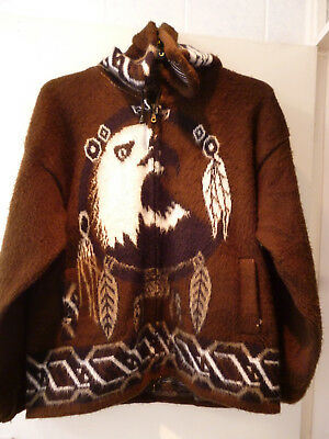 Hooded Zipped Coat Jacket Large - Hand Made In Ecuador - Genesis Handicrafts