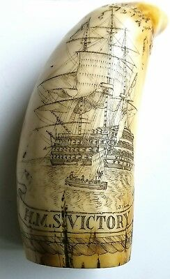 Vintage Scrimshaw Faux Resin Carved Sperm Whale Tooth HMS Victory  Nelson 6.5  ""