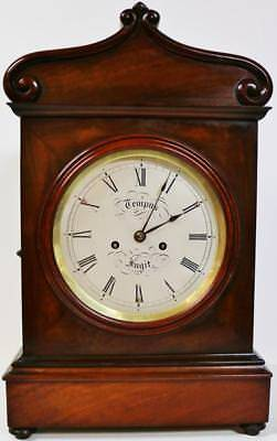 Antique English Flame Mahogany Twin Fusee 8Day Bell Striking Bracket Clock C1830