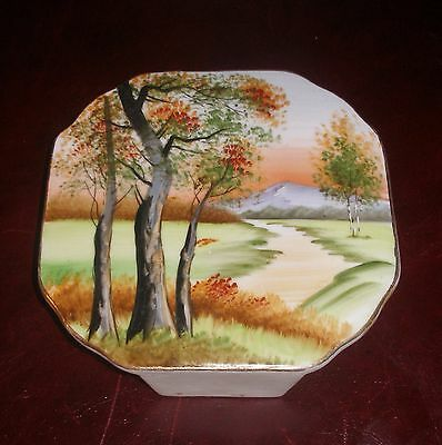 Vintage RARE 1940s Porcelain MIJ Wall Pocket Vase Scene Stand or Hang Post-WWII