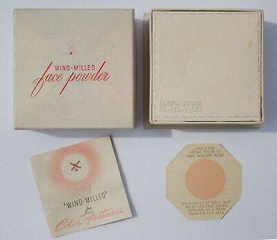 VINTAGE 1940's REVLON FACE POWDER MAKEUP 3-1/2 oz BOX MRS. MINIVER ROSE NOS