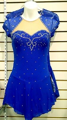 New Competition Figure Skating Dress Royal 100's AB Crystals SU100 Youth 14