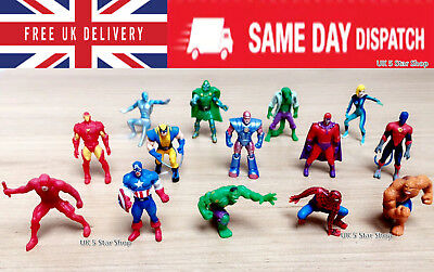 7 PCS MARVEL Superhero Action figures CAKE TOPPER Avengers xmen hulk