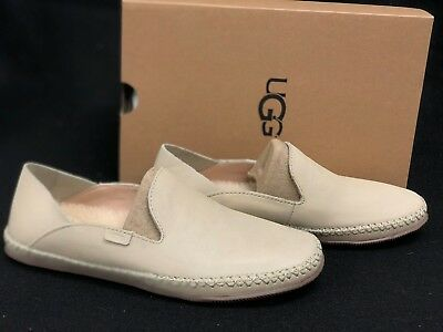 d3ab8f37a41 UGG AUSTRALIA ELODIE Wool Lined Leather Slippers 1020235 Cream Shoes Loafers