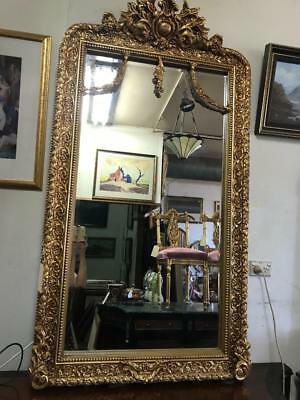 LARGE ORNATELY CARVED FRENCH ROCOCO LOUIS BEVELLED GOLD FLOOR MIRROR 160cm