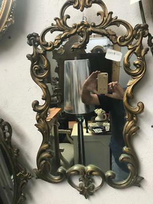 Lovely Oval French Style Ornately Carved Gilt /gold Framed Wall Mirror 38 X 71Cm