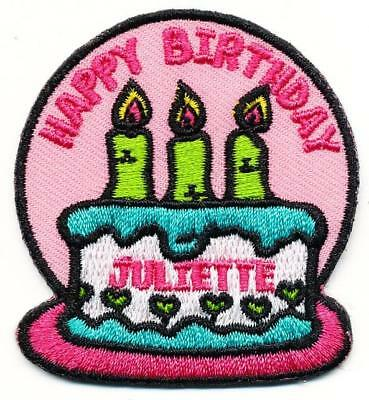 Girl HAPPY BIRTHDAY JULIETTE LOW Fun Patches Crest Badge SCOUTS GUIDE party cake