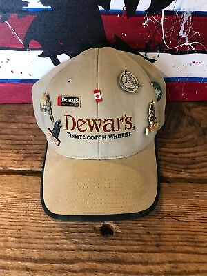 DEWAR'S BLENDED SCOTCH WHISKEY Hat W/7 Pins Attached Guinness Canada Golf