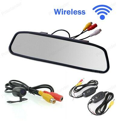 """4.3"""" Mirror Monitor Rear View Camera Wireless Kit Parking Assistance Car Monitor"""