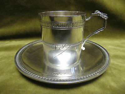 beautiful late 19th c french sterling silver (950) coffee cup Empire st Rose
