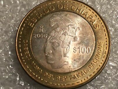 2006 100 PESO bimetalic Estado De Chiapas - low mintage-Lot#201