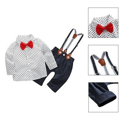 2PCS Toddler Baby Kids Boy Bow Tie T-shirt+Bib Pants Overalls Clothes Outfit Set