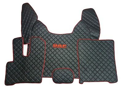 LHD Floor Mats For DAF XF 106 Automat BLACK With Red Logo And Trim Eco Leather.