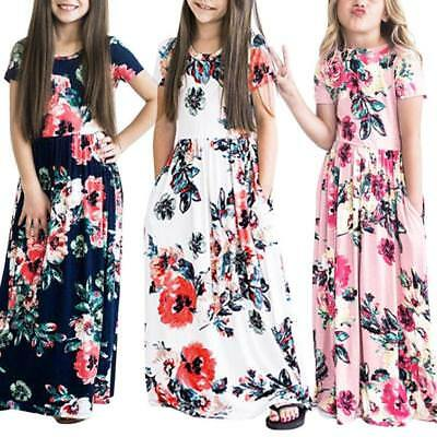 Toddler Kids Infant Baby Girls Flower Print Princess Party Dress Outfits Clothes