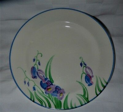 GRAYS POTTERY- ART DECO BLUEBELLS  HAND PAINTED PLATE  A434 16cm diameter