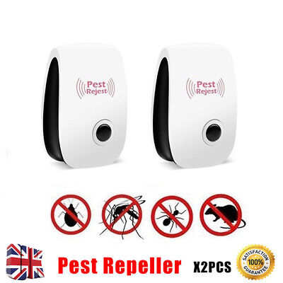 2X Pest Control Whole House Electronic Rat Mouse Mice Mosquito Repeller Plug in