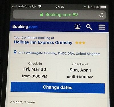 2 night hotel stay, bed and breakfast in expires 30/11/18 Grimsby, Lincolnshire